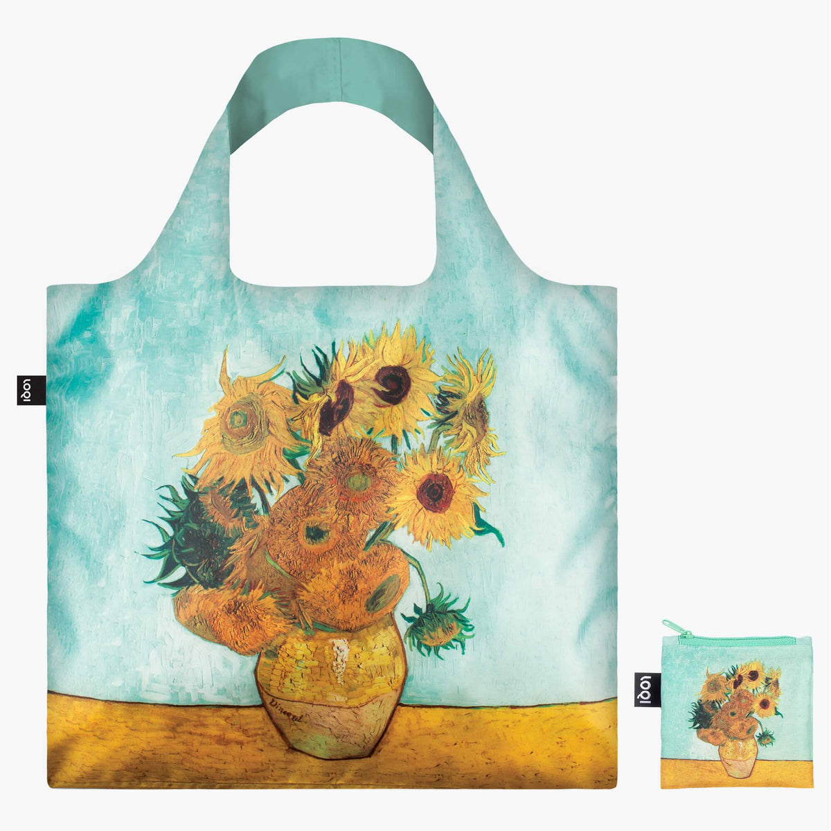 LOQI Vincent van Gogh Vase with Sunflowers, 1888 Bag with Zip Pocket