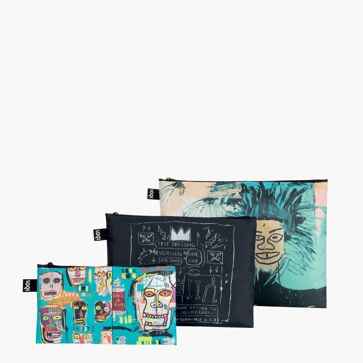 LOQI Jean-Michel Basquiat Zip Pockets Stacked