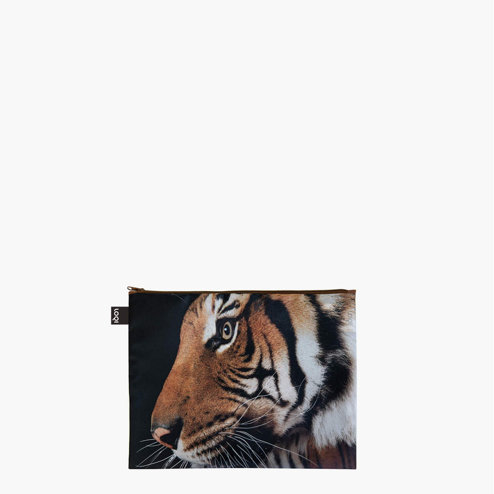LOQI National Geographic Photo Ark Tiger, Chameleon, Flamingos Zip Pockets Maxi