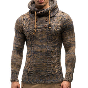 Men's Fashion Color Twist Double Breasted Hooded Knitted Sweater Knitted Sweater-Don Dapper Store