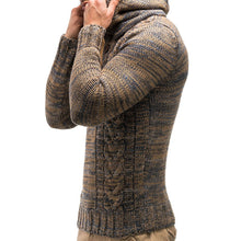 Load image into Gallery viewer, Men's Fashion Color Twist Double Breasted Hooded Knitted Sweater Knitted Sweater-Don Dapper Store