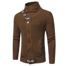 Load image into Gallery viewer, Cowl Neck Horn Button Single Breasted Cardigan-Don Dapper Store