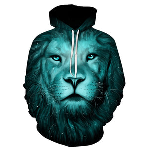 3D Lion Galaxy Print Pullover Mens Hoodie-Don Dapper Store