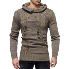 Load image into Gallery viewer, Men's Fashion Personality Neckline Button Decoration Trend Knit Hooded Sweater-Don Dapper Store