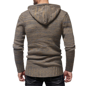 Men's Fashion Personality Neckline Button Decoration Trend Knit Hooded Sweater-Don Dapper Store
