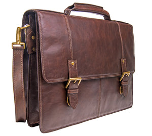 Large Double Gusset Leather Briefcase