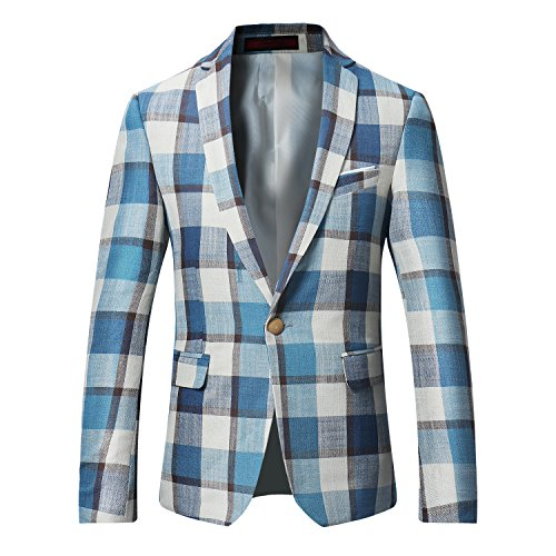 Men's Dinner Jacket One Button Patterned Party Blazer Plaid Dapper Sports Coat-Don Dapper Store
