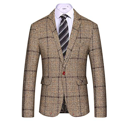 Men's Casual Blazer Slim Fit Plaid One Button Dapper Business Suit Jacket Sport Coat-Don Dapper Store