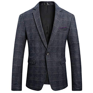 Men's Classic Plaid Sport Coats Casual One Button Single Breasted Notched Lapel Checked Dapper Suit Jacket-Don Dapper Store