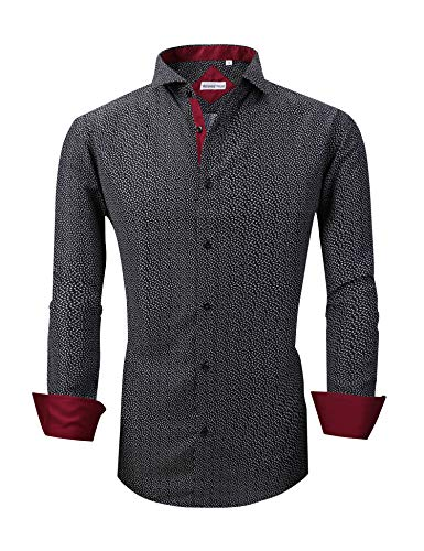 Mens Long Sleeve Printed Dress Shirts Casual Button Down 3 day delivery (USA)-Don Dapper Store