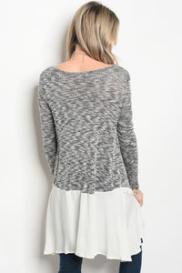 Ladies fashion long sleeve knit top that features a v neckline-Don Dapper Store