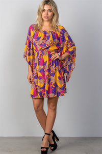 Ladies fashion multi floral bell sleeve dress-Don Dapper Store