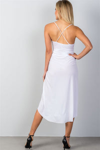 Ladies fashion white hi-low deep plunge summer dress-Don Dapper Store