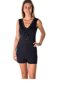 Ladies fashion casual lace up v neck knit romper shorts-Don Dapper Store