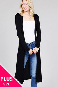 Ladies fashion plus size long sleeve open front side slit long length rayon spandex rib cardigan Pretty little thing-Don Dapper Store