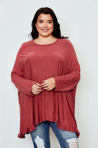 Ladies fashion plus size frill hem loose tunic top Pretty little thing-Don Dapper Store