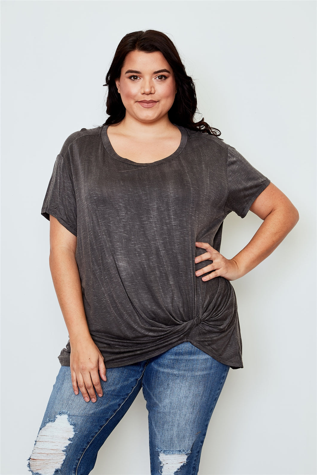 Ladies fashion plus size knotted front tee Pretty little thing-Don Dapper Store