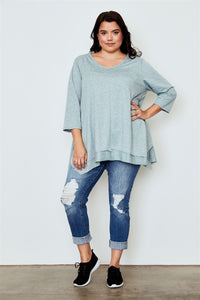 Ladies fashion plus size irregular hem tunic top Pretty little thing-Don Dapper Store