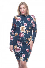 Load image into Gallery viewer, Mock neck floral dress-Don Dapper Store