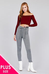 High waist self bow tie jacquard long pants-Don Dapper Store