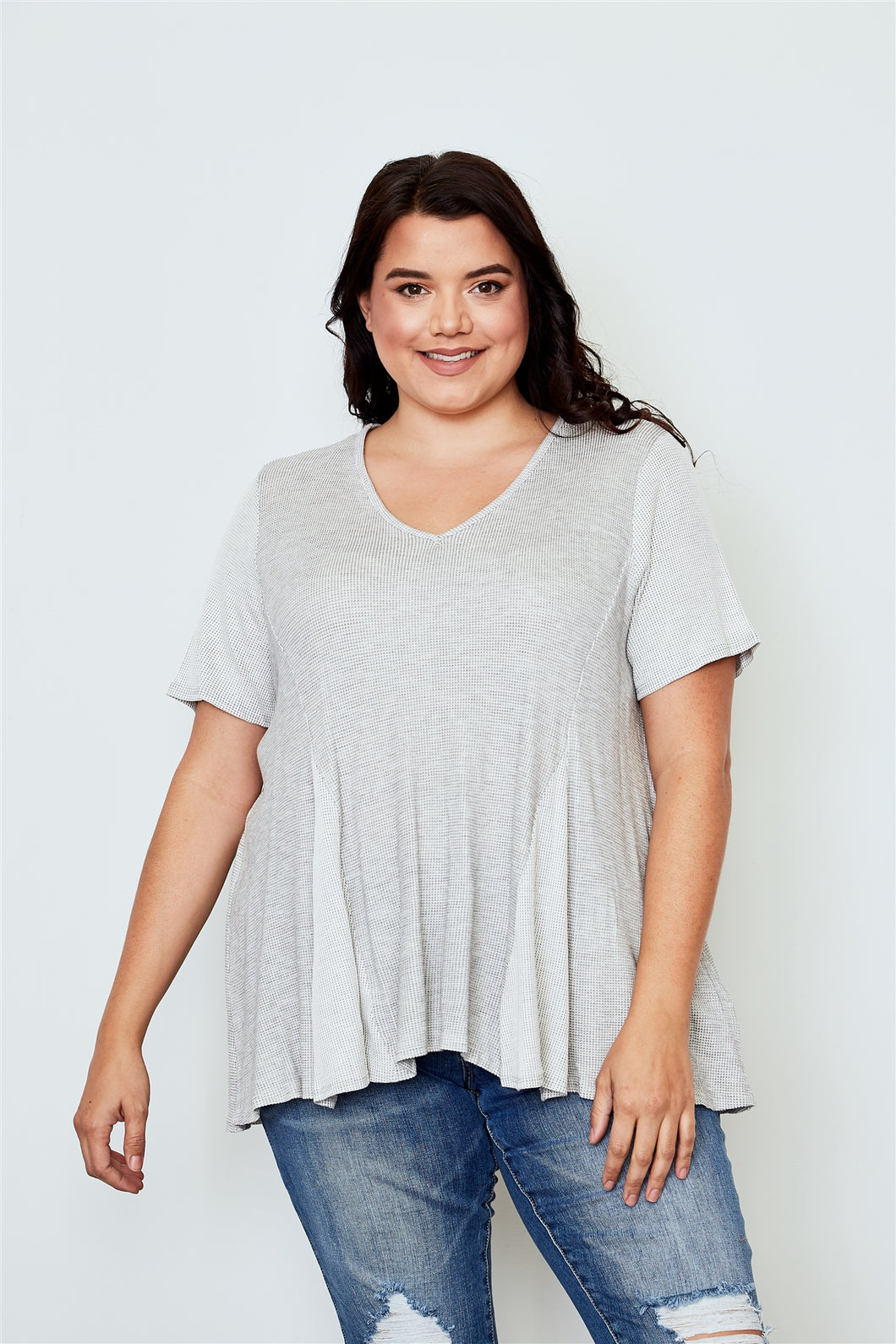 Plus size v neck loose top Pretty little thing-Don Dapper Store