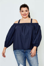 Load image into Gallery viewer, Plus size navy cold shoulder top Pretty little thing-Don Dapper Store