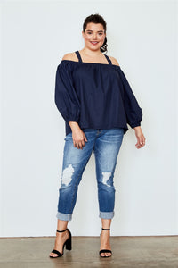 Plus size navy cold shoulder top Pretty little thing-Don Dapper Store