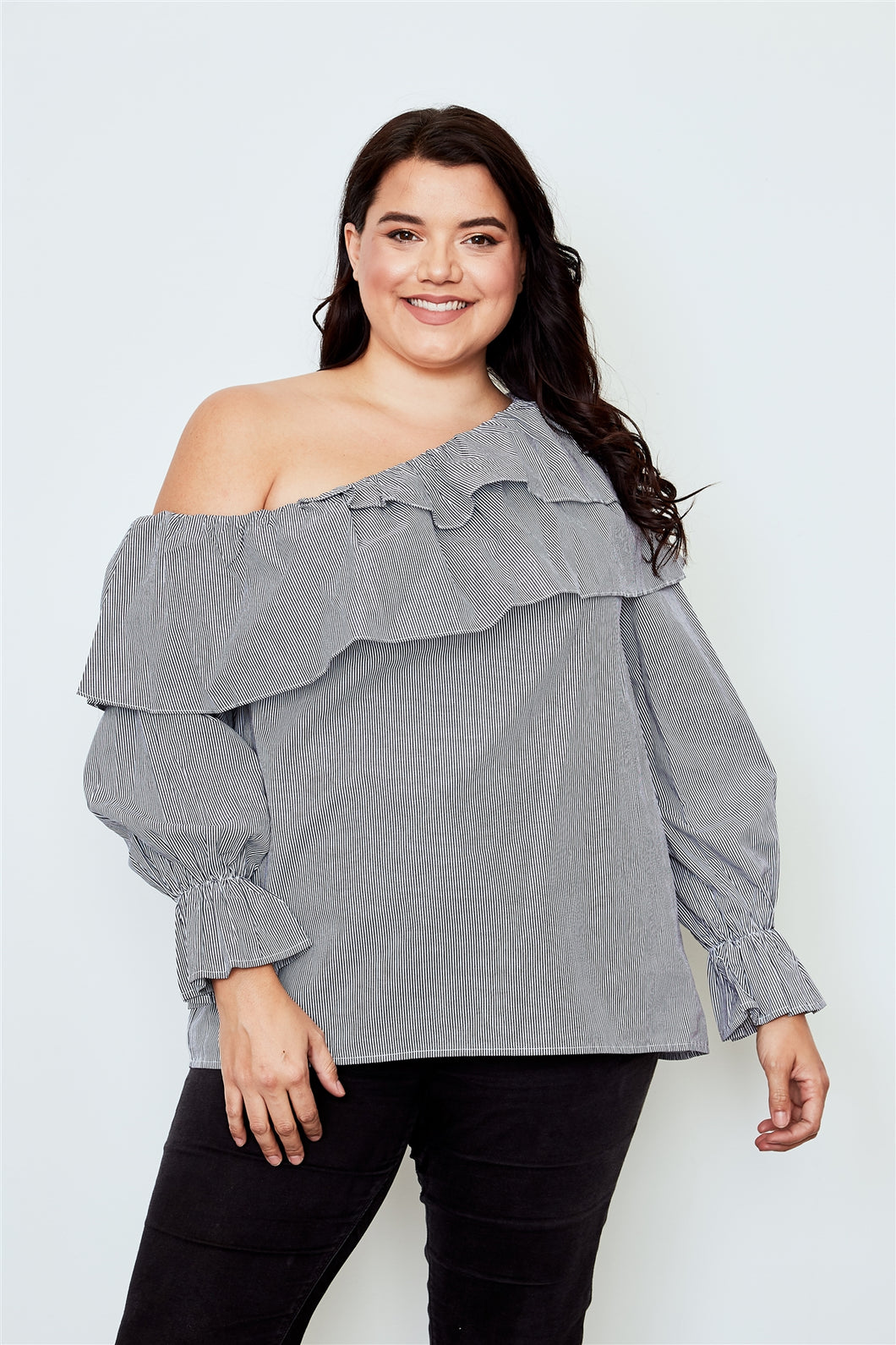 Plus size black one shoulder ruffle layer top Pretty little thing-Don Dapper Store