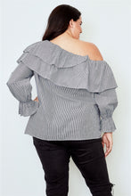 Load image into Gallery viewer, Plus size black one shoulder ruffle layer top Pretty little thing-Don Dapper Store
