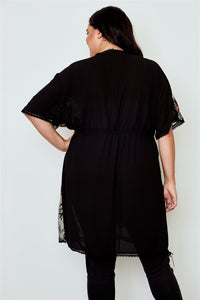 Plus size black sheer floral embroidered waist tie kimono Pretty little thing-Don Dapper Store