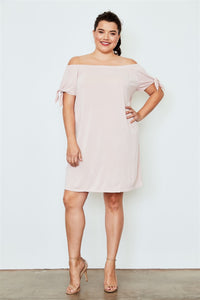 Plus size peach off the shoulder tie sleeves mini dress Pretty little thing-Don Dapper Store