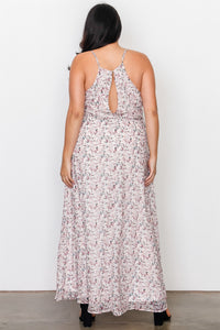 Plus Size Off White Floral Print Side Lace Up Maxi Dress Pretty little thing-Don Dapper Store