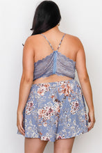 Load image into Gallery viewer, Plus Size Floral Print Lace Trim Cut Out Back Romper Pretty little thing-Don Dapper Store