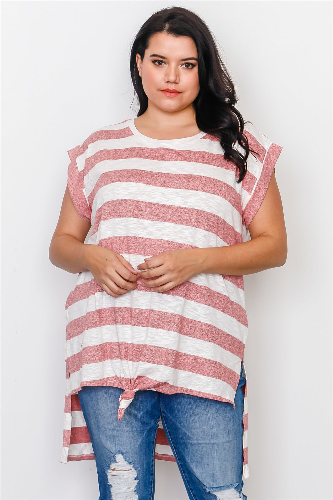 Plus Size Red Stripe Front Knot Hem Top Pretty little thing-Don Dapper Store