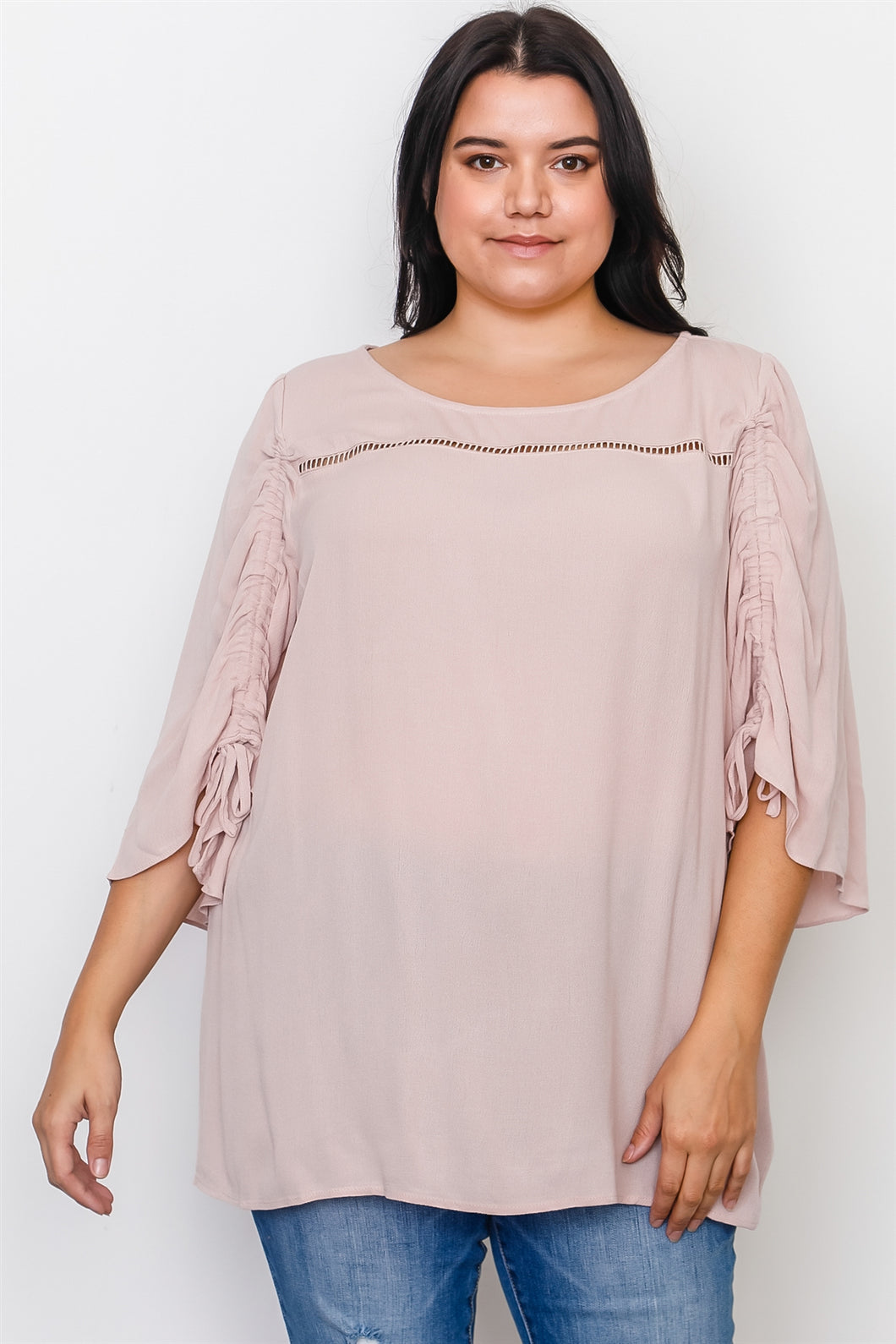 Plus Size Drawstring Sleeve Top Pretty little thing-Don Dapper Store
