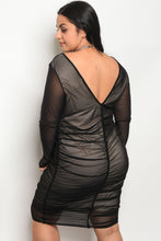 Load image into Gallery viewer, Ladies fashion plus size long sleeve mesh bodycon dress with a v neckline and nude lining Pretty little thing-Don Dapper Store