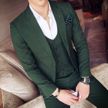 Load image into Gallery viewer, Green Men's Slim 3 Piece Set Italian Stylish Designer Party Suits (Jacket+Pants+Vest)-Don Dapper Store