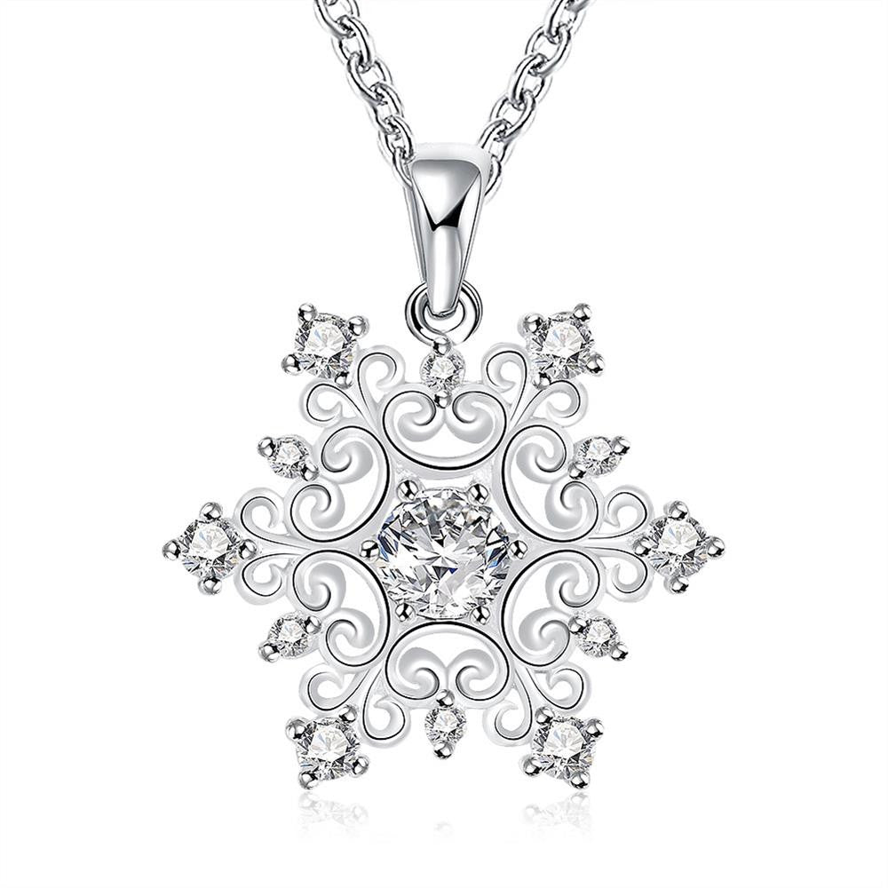 Swarovski Crystal Snowflake Necklace in 18K White Gold Plated-Don Dapper Store