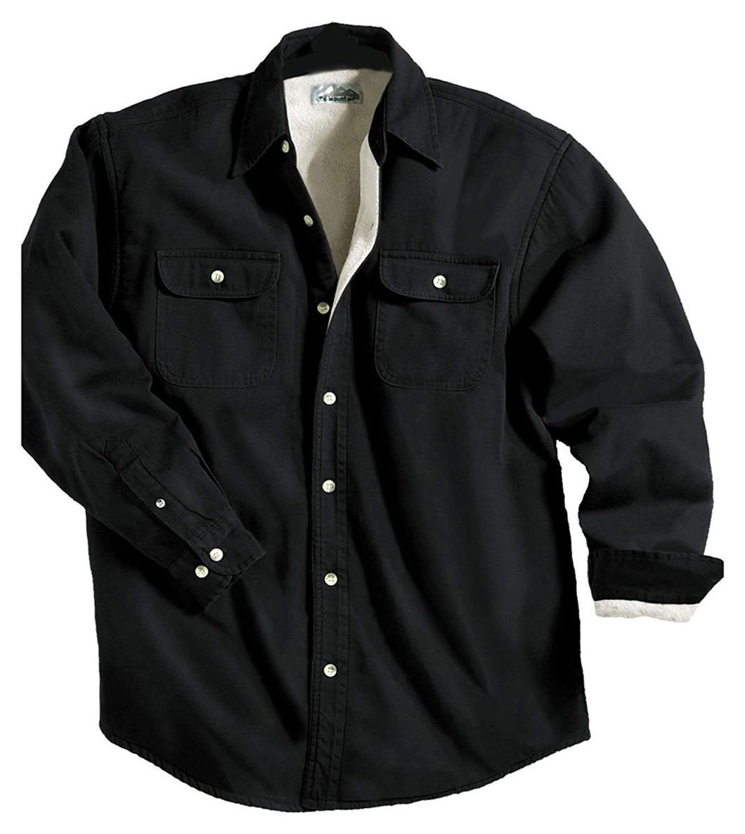 Men's Fleece-Lined Long Sleeve Denim Shirt, Black-Don Dapper Store