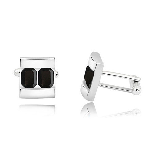 Sleek Two Platinum Cufflink-Don Dapper Store