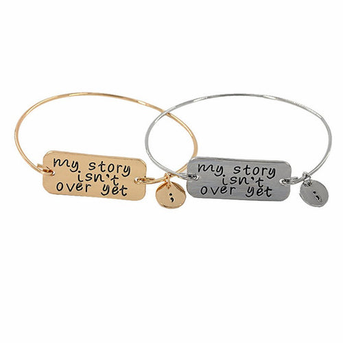 My story isn't over yet Semicolon Bangle Bracelet-Don Dapper Store