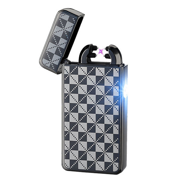 Black Checkered Rechargeable Windproof Lighter-Don Dapper Store