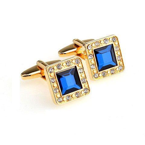 Gold Plated Gemstone Cufflink-Don Dapper Store
