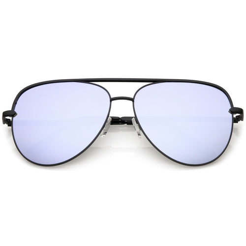 Premium Oversize Metal Aviator Sunglasses With Colored Mirror Lens And Crossbar 60mm (Black / Silver Blue Mirror)