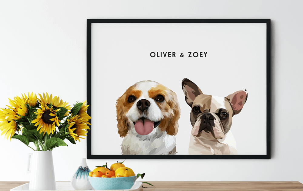 Custom Two Pet Portrait