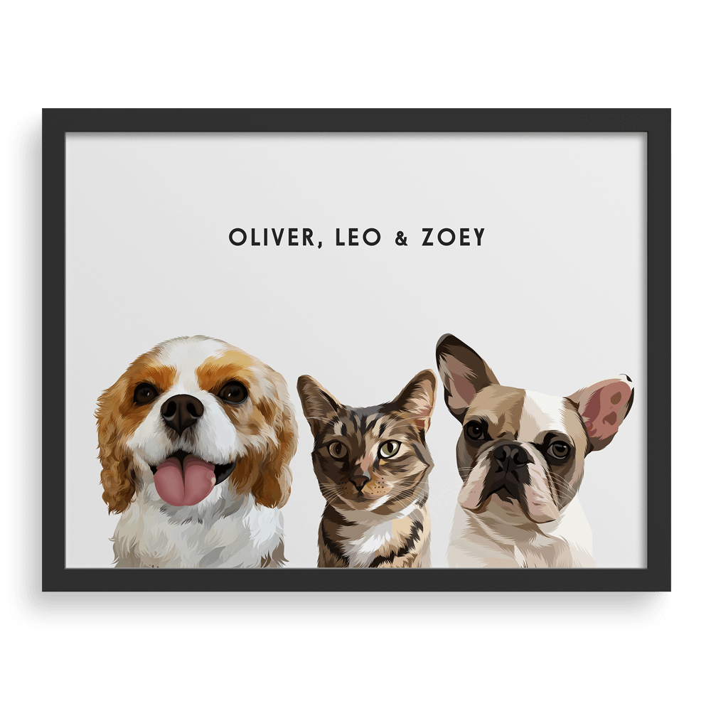 Custom Three Pet Portrait