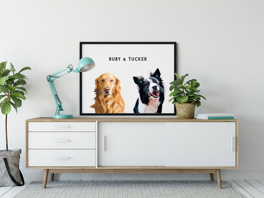 Custom Two-Pet Portraits (Framed)