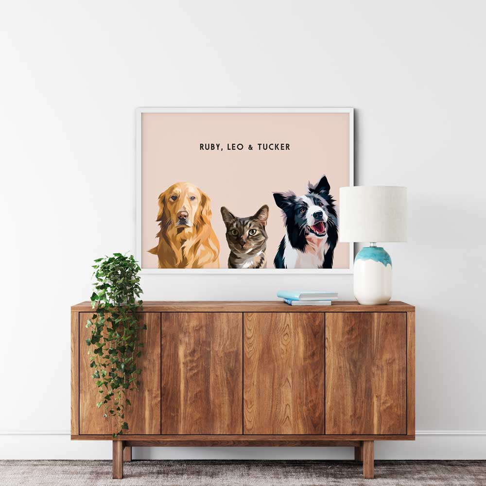 Custom Three-Pet Portraits
