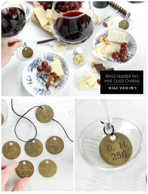 How To Make Wine Glass Charms: Upcycled Brass Number Tags