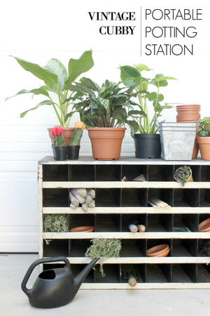 How To Repurpose Vintage Metal Cubbies: Portable Potting Station